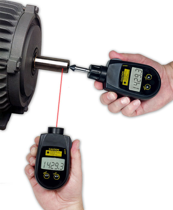 Combination Contact and Non-Contact Laser Tachometer