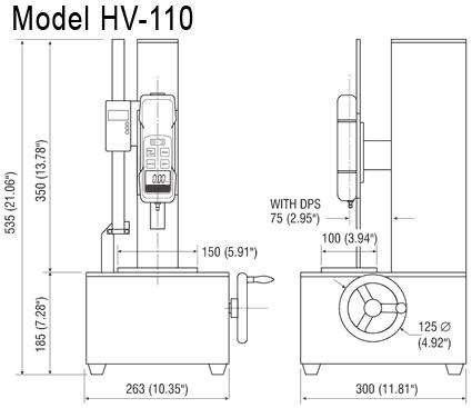 Imada HV-110 dimensions