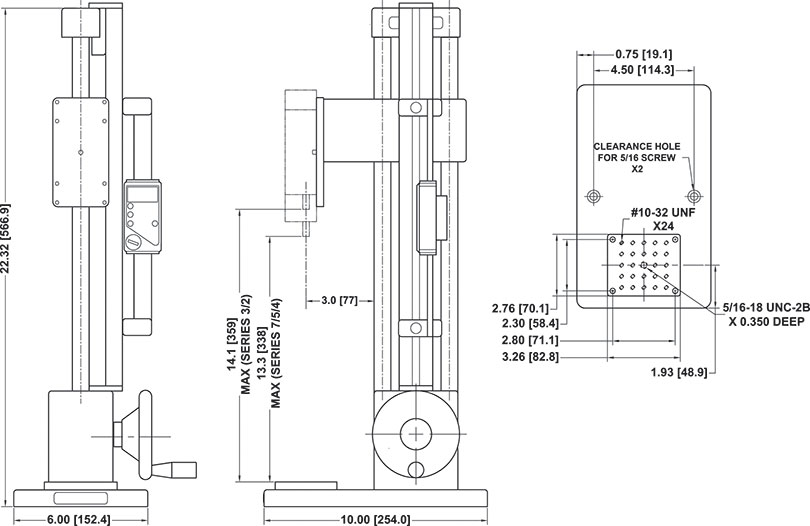ES30 Test Stand dimensions