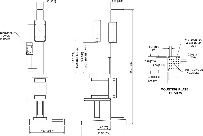 TSC1000 Force Test Stand dimensions