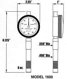 RX-1600 Durometer dimensions