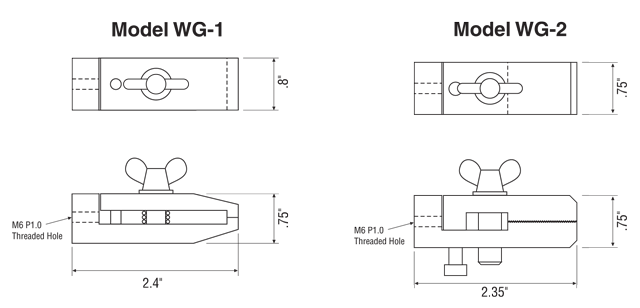 WG-1 and WG-2 Wire Terminal Grip Dimensions