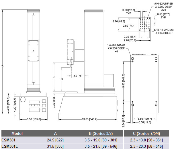 ESM301 Test Stand Dimensions