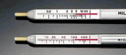 PosiPen Scale is marked in mils and microns