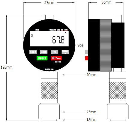 DD-100 Digital Durometer Dimensions