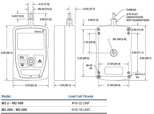 Series 2 force gauge dimensions