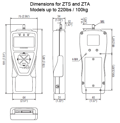 zts / zta force gauge dimensions