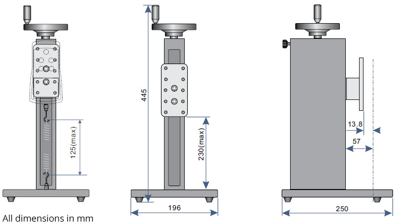 FGS-250W Manual Test Stand dimensions
