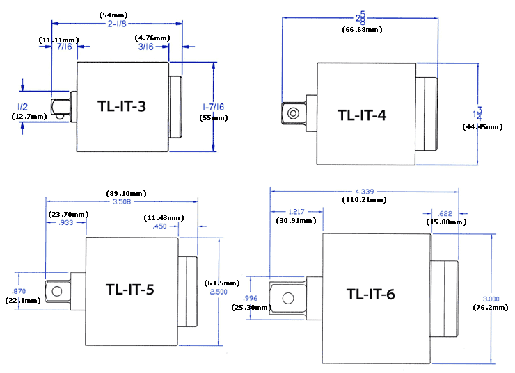 Inline Torque Limiter dimensions