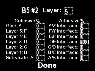 100% cohesive fracture at D/E coating interface (layer 3/layer 4) Display