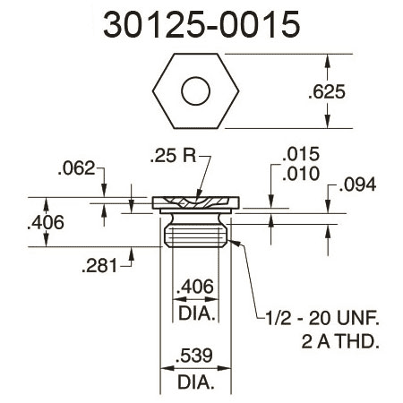 30125-0015 Cupped Surface Pressure Fitting