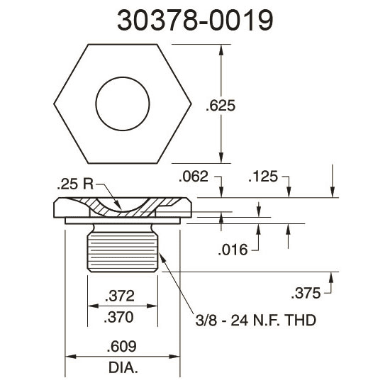 30378-0019 Cupped Surface Pressure Fitting