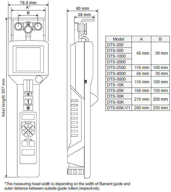 DTX Digital Tension Meter Dimensions