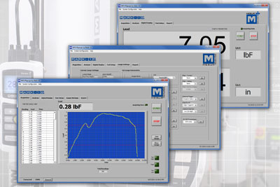 Consider MESUR™gauge Plus software for force vs. travel or force vs. time data acquisition, plotting, analysis, reporting, as well as motion control. The software coordinates motor start / stop and data acquisition with one click.