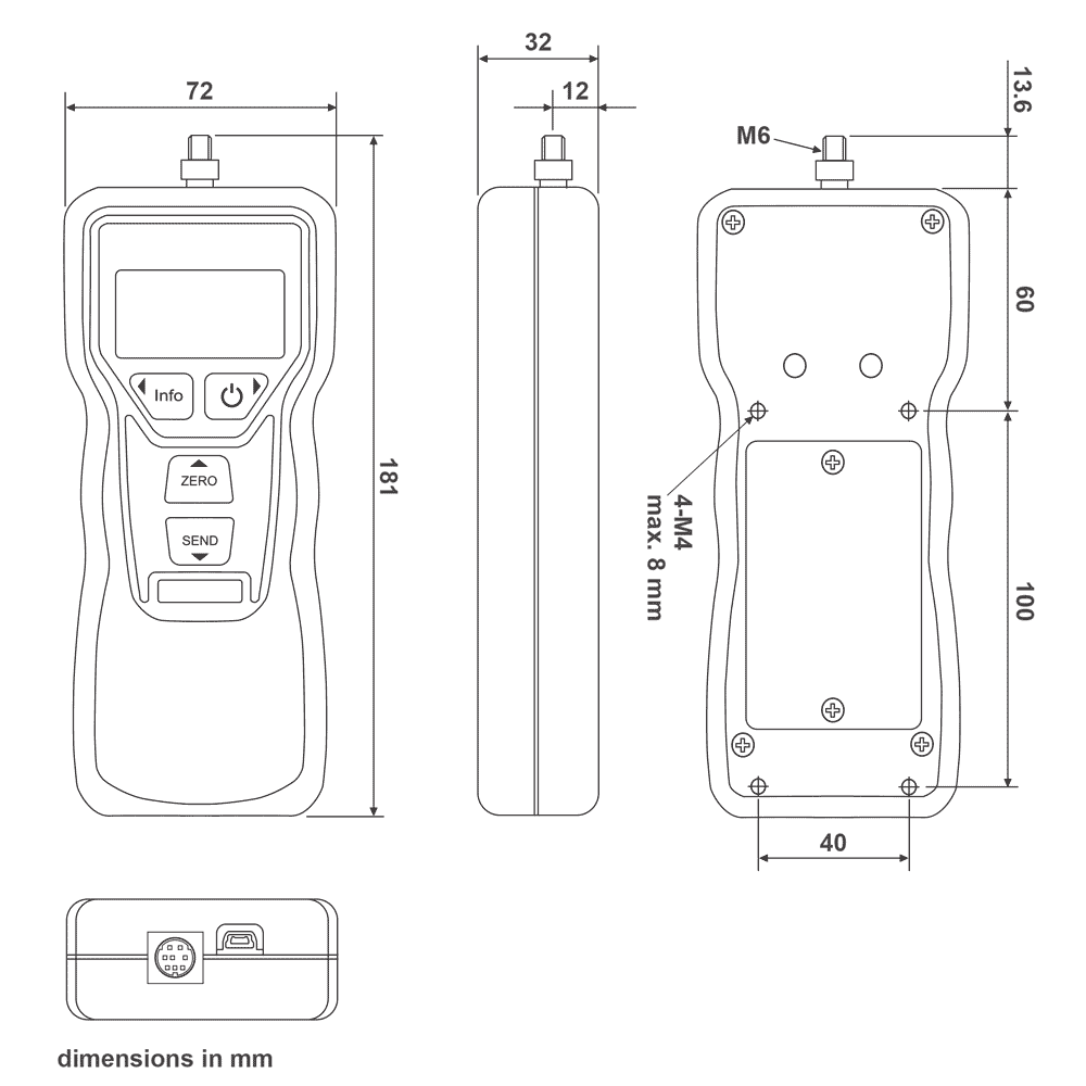 DST Digital Force Gauge Dimensional Drawing