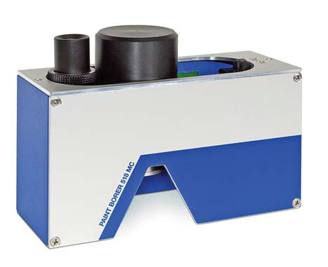 The PAINT BORER 518 MC coating thickness gauge utilizes the wedge cut method in which the specimen is cut at a defined angle.