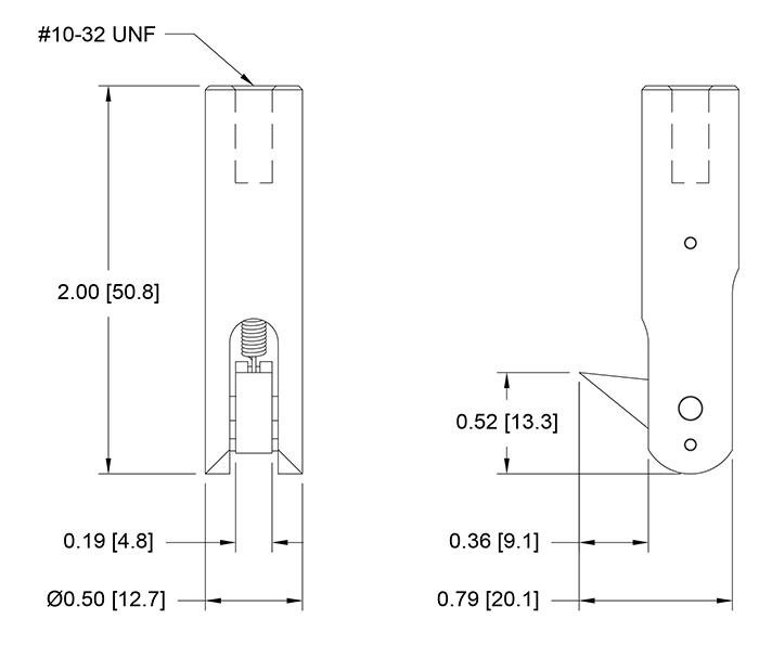 G1104 Flip Cap Pull Grip Dimensional Drawing