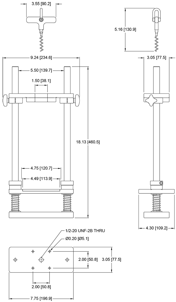 G1105 Cork Pull Fixture Dimensional Drawing