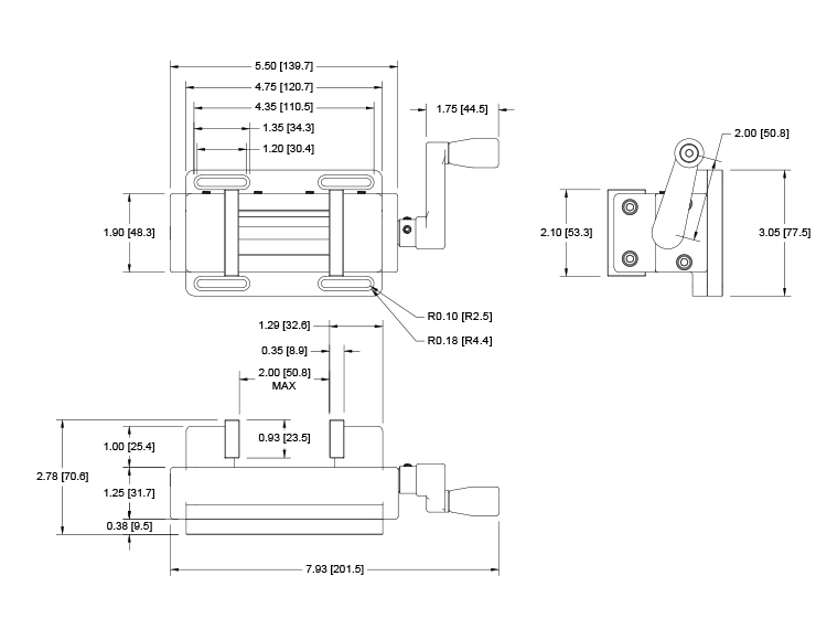 G1106 Self-centering Vise Grip, Mark-10 dimensions