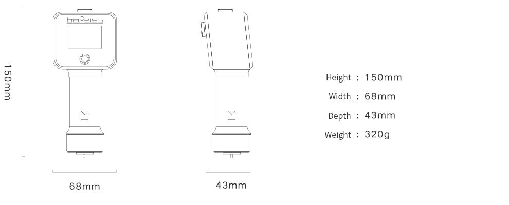 Bareis HPE iii Digital Durometer dimensions
