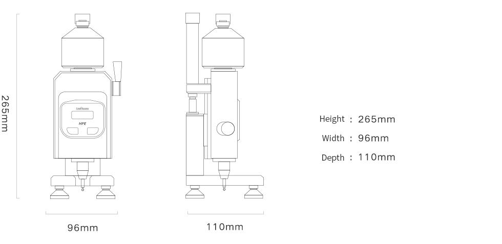 Pusey & Jones Hardness Tester Dimensions